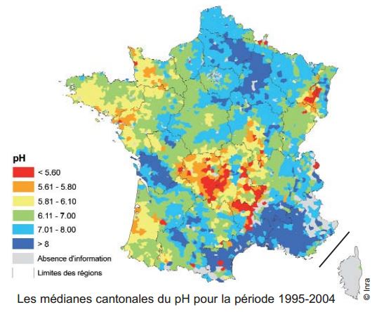 Carte du ph des sols en France